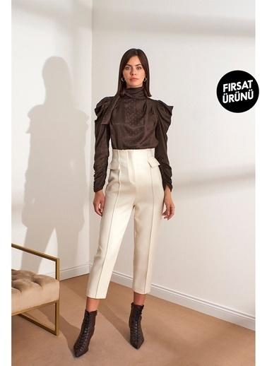 Setre Siyah Yüksek Bel Kat İzli Kumaş Pantolon Bej